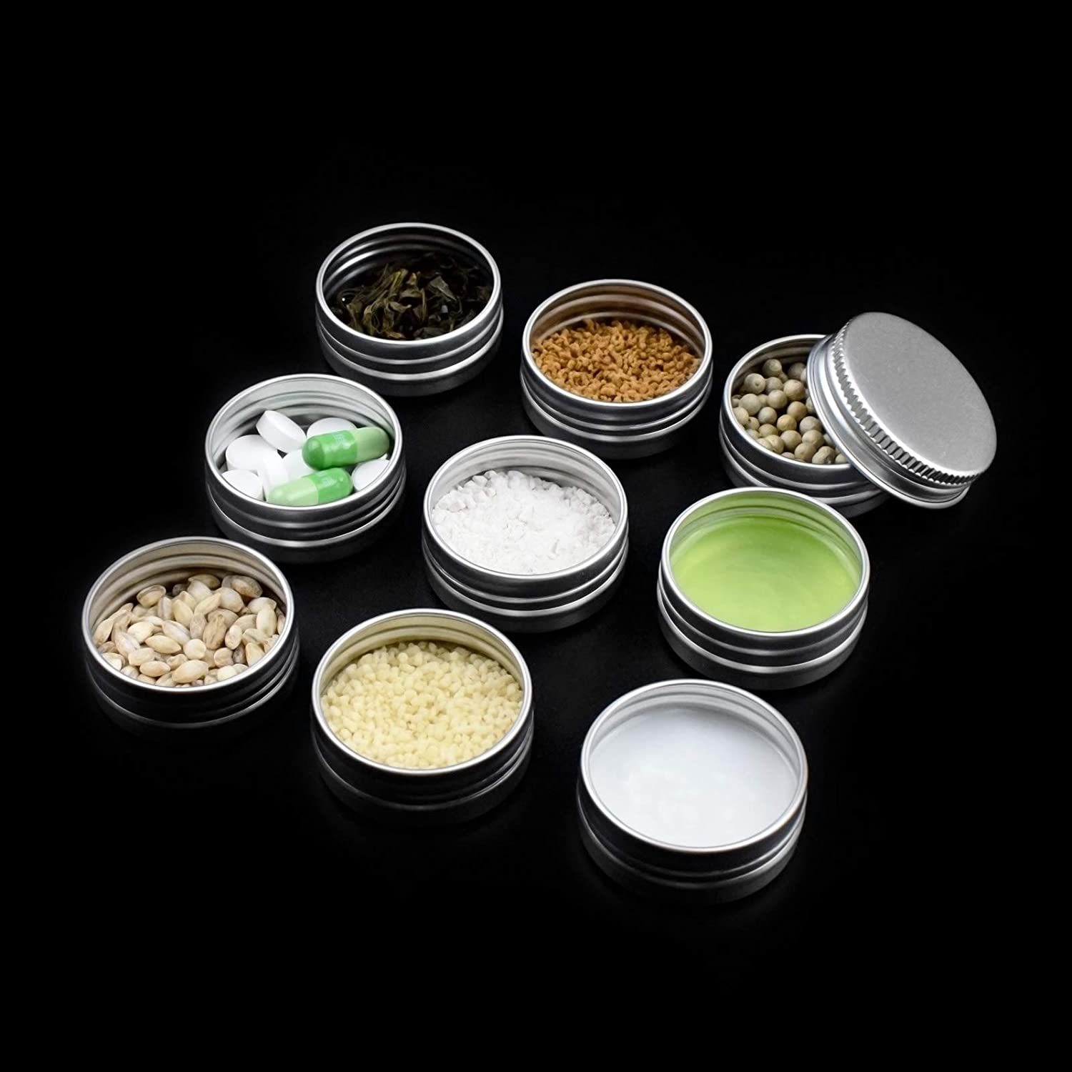 Familion 1//2 oz Aluminum Tin Cans Empty Containers Screw Top Round Metal Cans with Screw Lids 24 Pack