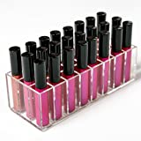 N2 Makeup Co Acrylic Lip Gloss Makeup Organizer - 24 Slot Lipgloss Holder Case for Beauty Storage (Clear)