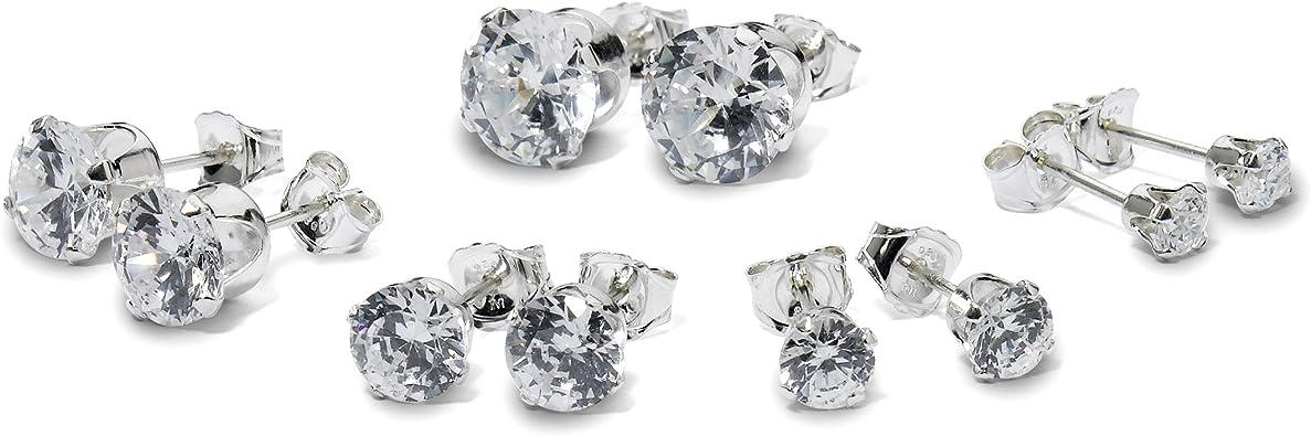 5-Pair Set Sterling Silver Gemstone 4mm Round Stud Earrings