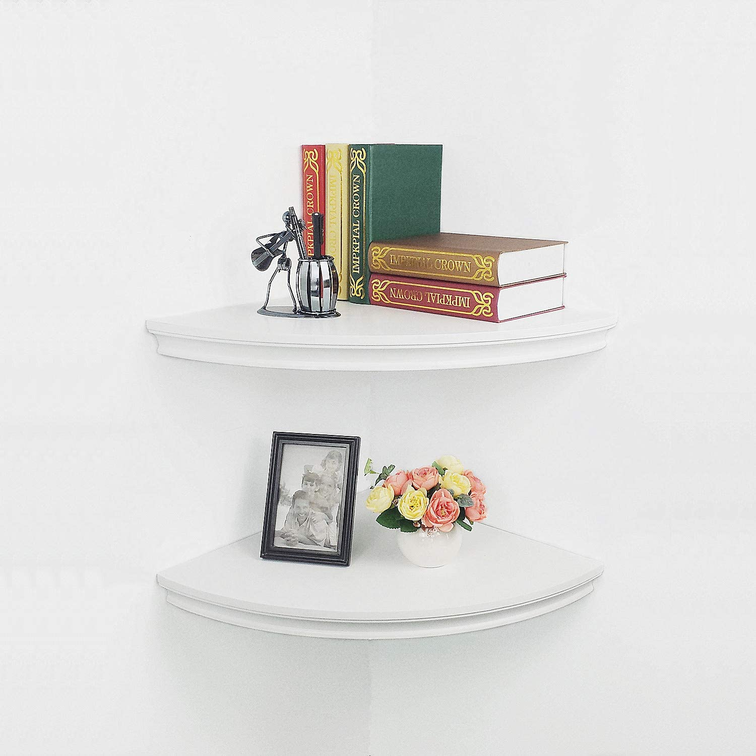 "Floating Corner Shelves Wall Mounted,Set of 2 Radial Classic Crown Molding Design for Bedroom,Living Room,Bathroom,Kitchen,Approx 17"" White"
