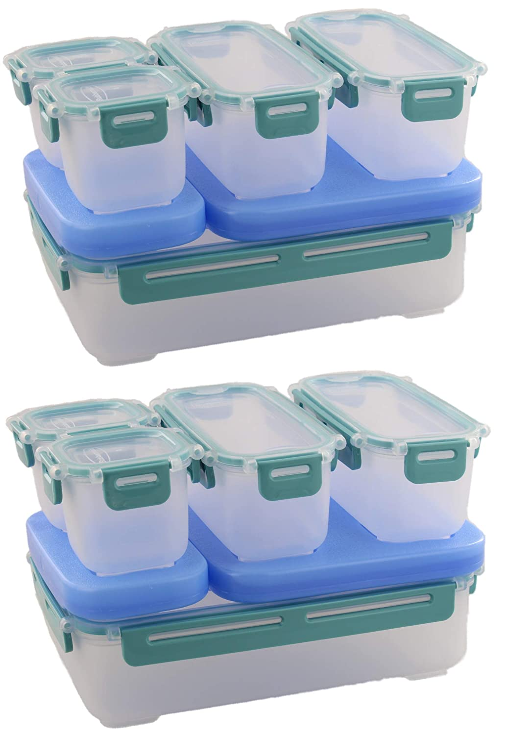 Rubbermaid LunchBlox Leak Proof Large Entree Kit with Side and Snack Containers, 2pk - BPA-free, Stackable Lunch Box with Airtight Seal and Durable Latches - Great for Home, School, On the Go - Blue