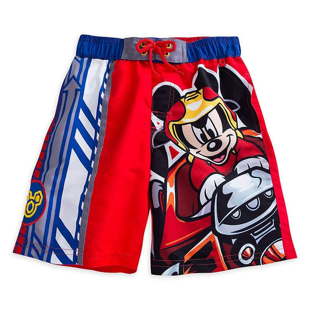 Disney Mickey Mouse Swim Trunks for Boys Size 5/6 Red 458062426915