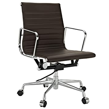 Amazon.com: Ribbed Mid Back Office Chair in Brown Genuine Leather ...