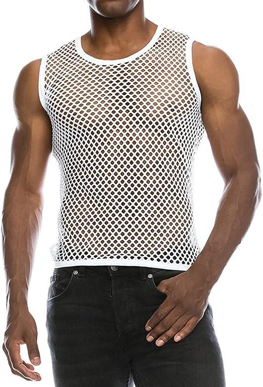 Chaleco Camiseta de Malla Hombre Lencería Erótica Fishnet Transparente sin Mangas Top Apretada Muscular Traje de Fiesta Clubwear para Hombres: Amazon.es: Ropa y accesorios