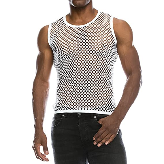 7af574725a57 Chaleco Camiseta de Malla Hombre Lencería Erótica Fishnet Transparente sin  Mangas Top Apretada Muscular Traje de Fiesta Clubwear para Hombres