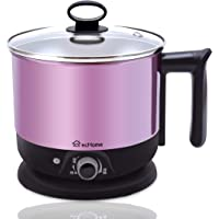 ecHome 1.2L Mini Portable Electric Travel Cooking Kettle Pot Cooker for Soup Porridge Steamed Food Rice Maker Pink