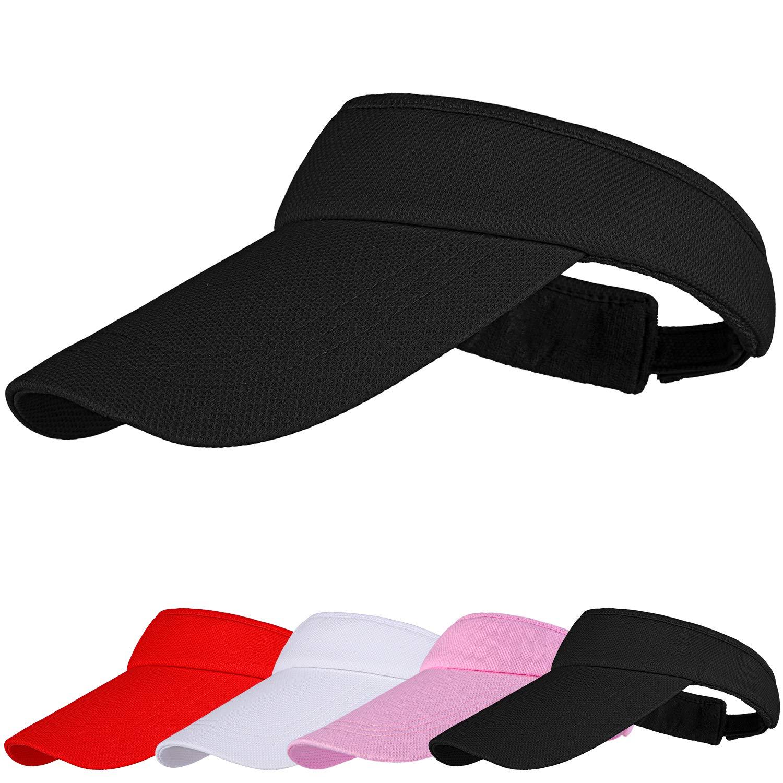 Cooraby Sun Visors Sports Adjustable Sun Visor Hats Long Brim Visors with Sweatband for Girls Women