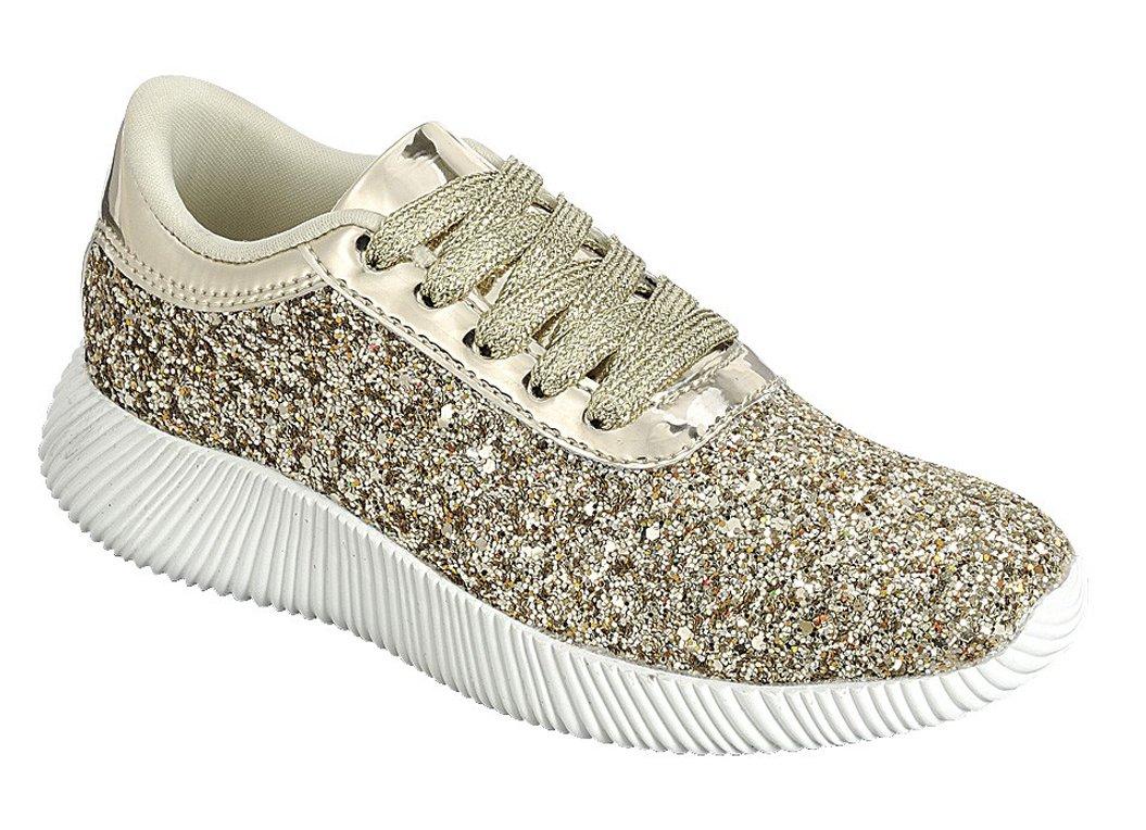 JKNY Kids Girls Fashion Metallic Sequins Glitter Lace up Light Weight Stylish Sneaker Shoes ALT-REMY18K