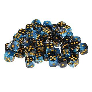Sharplace 50 Pezzi / Set D6 Dadi Angolo Tondi 12mm Per Giochi Da Tavolo Dungeons And Dragons Giochi DNG MTG RPG - Blu nero