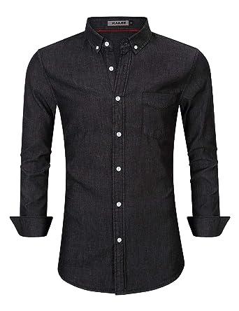 acff2ef726a Kuulee Men s Casual Slim Fit Long Sleeve Button Down Dress Shirts Denim  Shirt (M