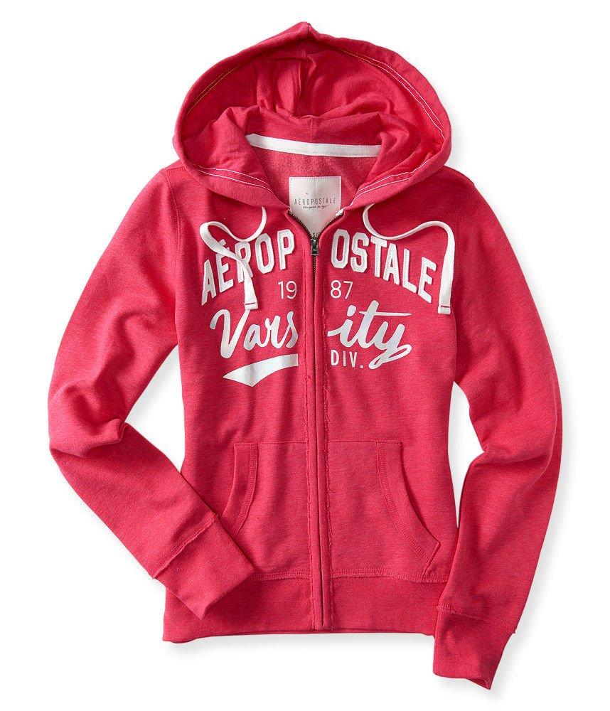 Aeropostale Womens Zip Hoodie Sweatshirt X-Small Pink