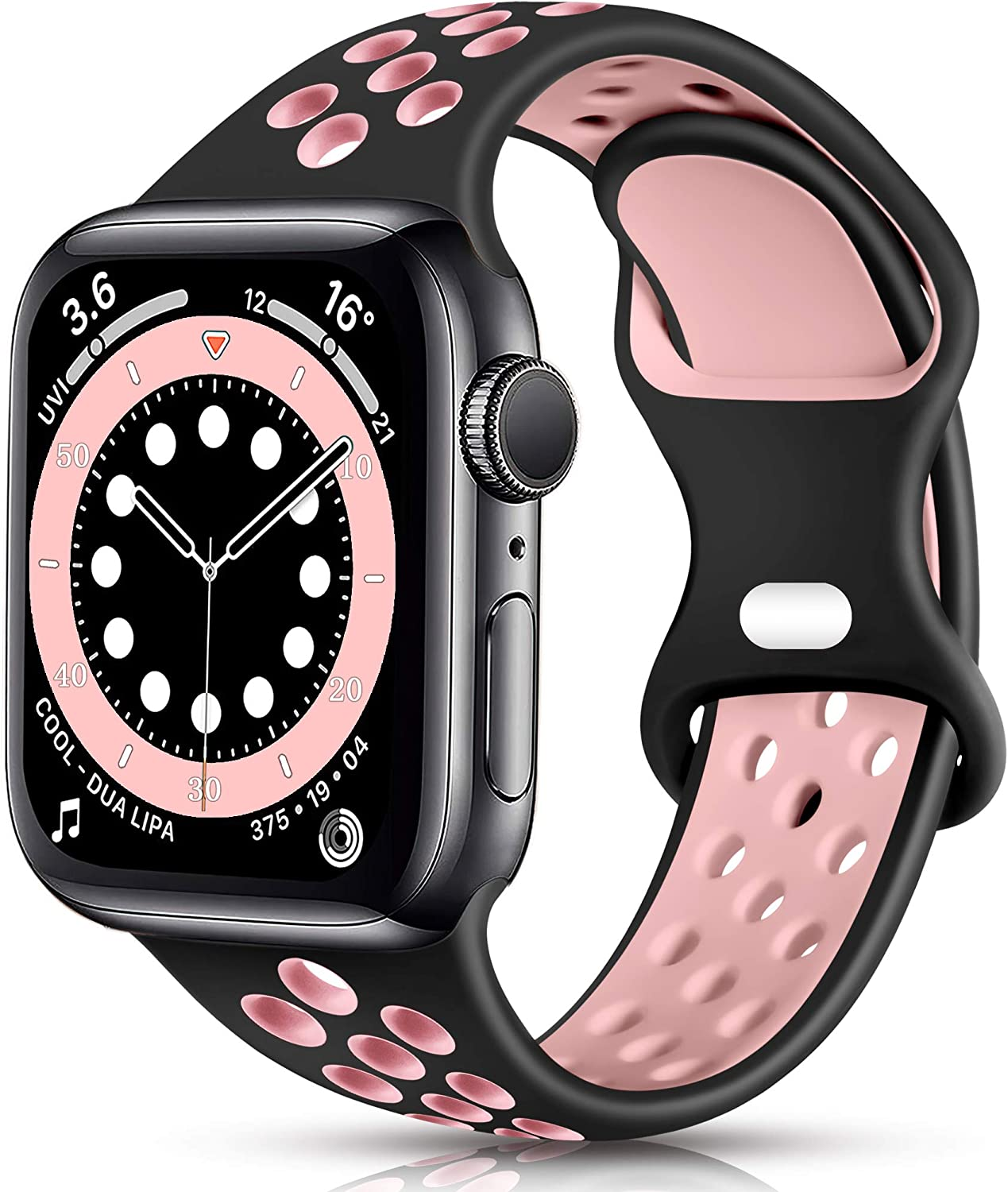 Sport Band Compatible with Apple Watch 38mm 40mm 42mm 44mm Women Men, Breathable Silicone Replacement Wristband for iWatch SE Series 1/2/3/4/5/6