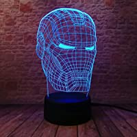 Jian E Iron Man Three D Cool LED Night Lights Colorful Flash Avengers Immagine Iron Man Mask Giocattoli di Modello - Ricaricabile /