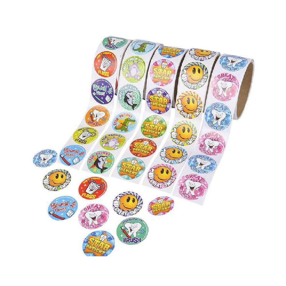 500Pc Dental Roll Sticker Asst (5Rl/Un) (With Sticky Notes) by Bargain World