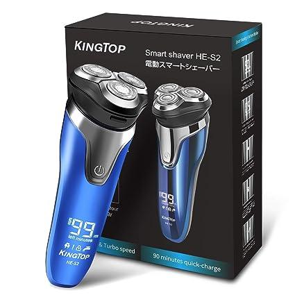 Máquina de Afeitar de Rotación Afeitadora Eléctrica para Hombres KINGTOP  Cabezas Giratorias Cortadora de Barba Impermeable d73eab78fad4