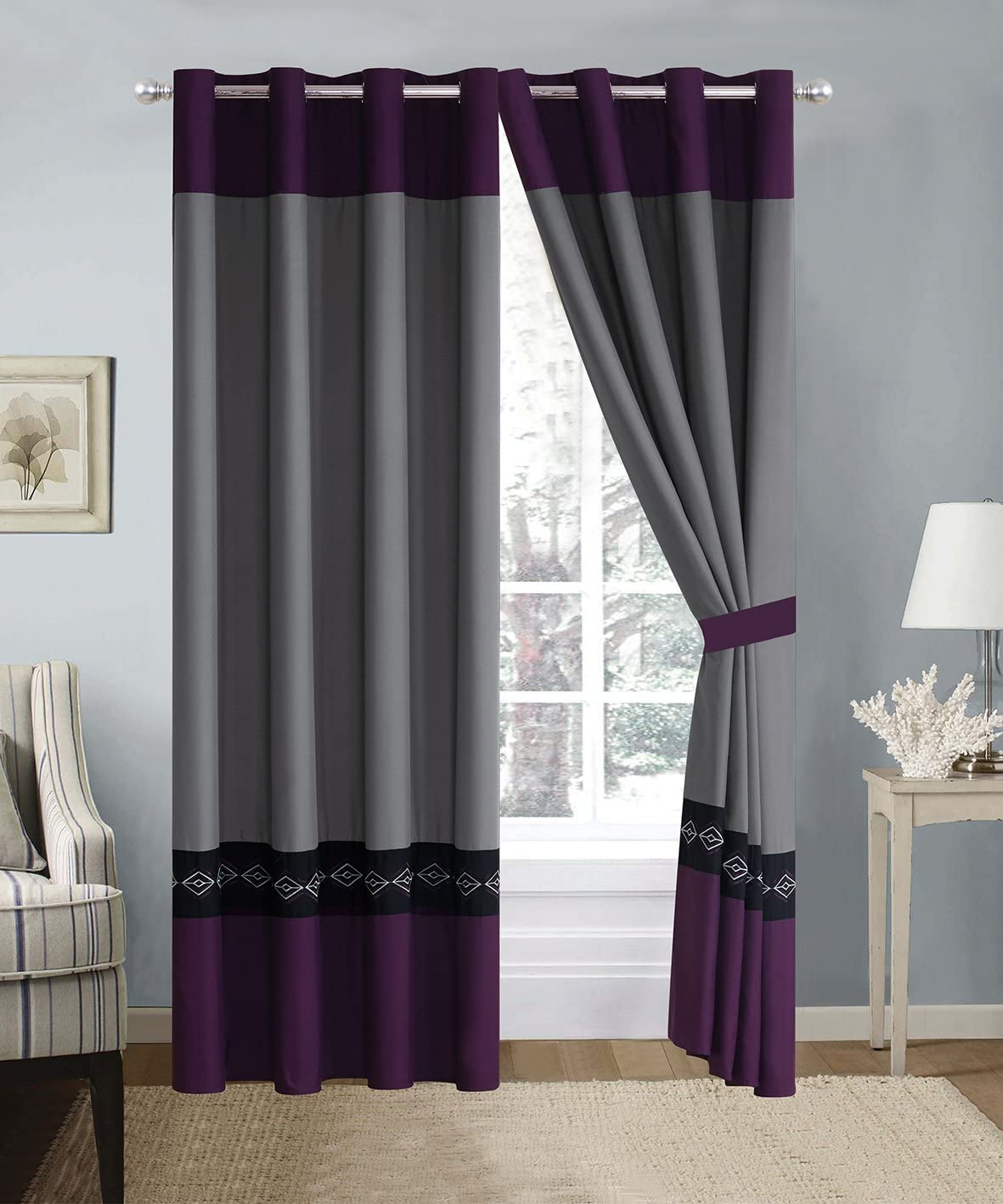 4 Piece Dark Purple/Grey/Black Double-Needle Stitch Pinch Pleat Grommet Window Curtain Set 108 x 84-inch