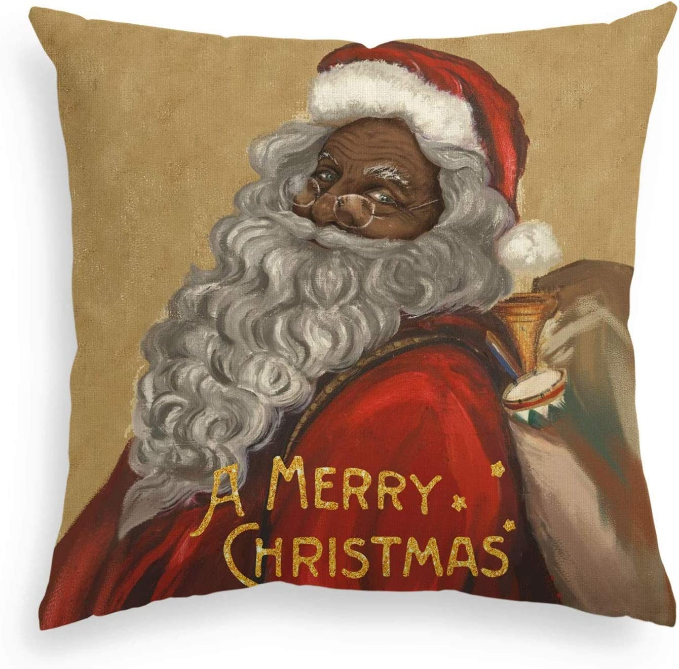 FJPT Throw Pillow Cover African American Black Santa Christmas Linen Pillowslip Winter Holiday Cushion Case Decoration for Sofa Bed Pillowcase 26x26 inch