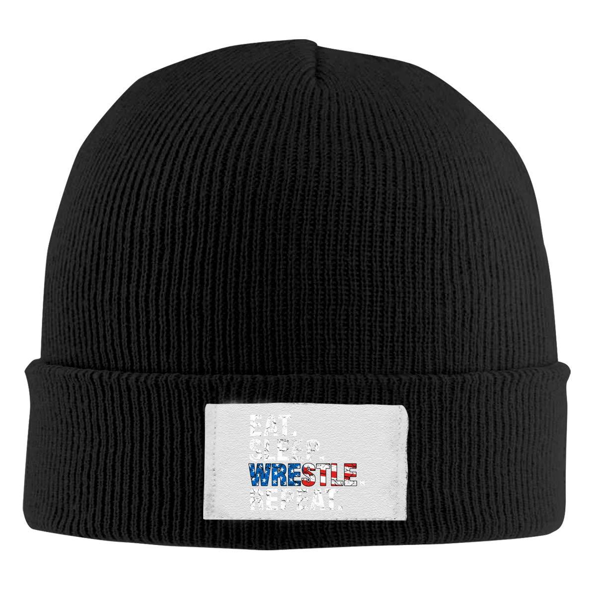 Stretchy Cuff Beanie Hat Black Dunpaiaa Skull Caps Eat Sleep Wrestle Repeat Wrestling Winter Warm Knit Hats