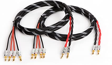 2 to 2 Spades Canare 4S11 Star Quad 11 AWG BiWire Speaker Cable 1 Pair 20 Ft.