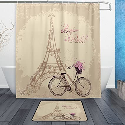 Romantic French Paris Eiffel Tower Waterproof Polyester Fabric Shower Curtain 60quot X 72quot