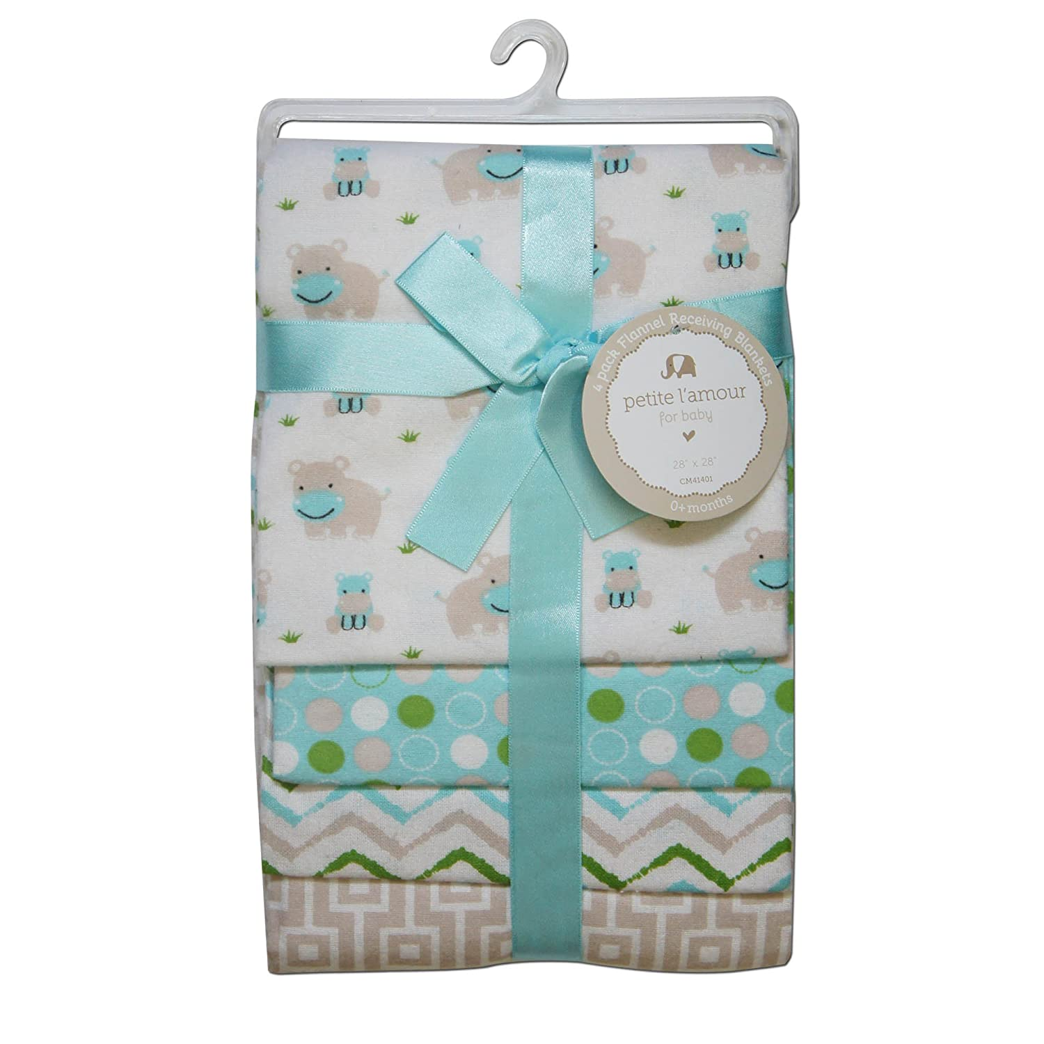 CRIBMATES Petite L'Amour Receiving Blankets Baby Boys Happy Hippo Quest Products Baby REGE41401
