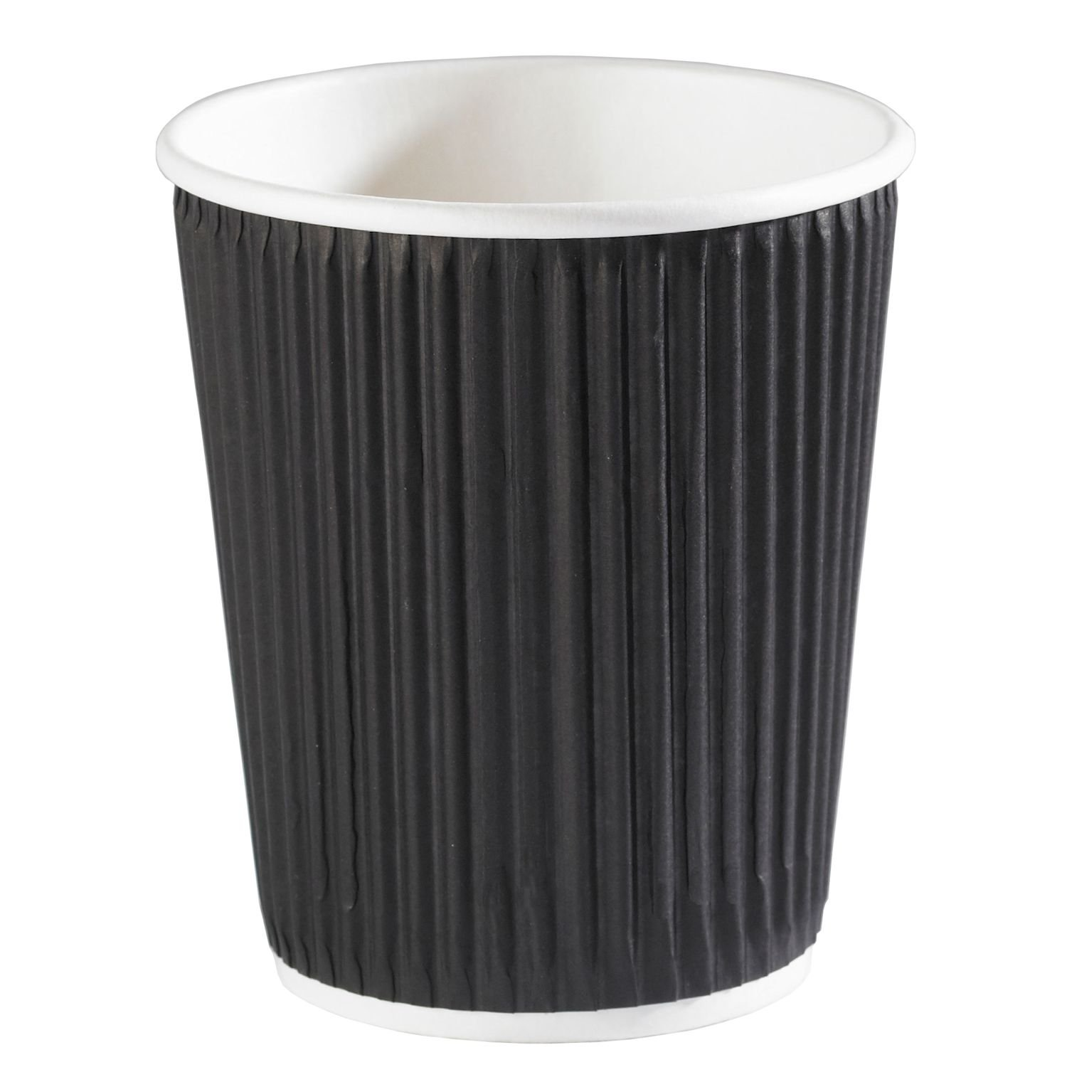 Deli Supplies 500 x Ripple Black Kraft Insulated 8oz Cup Coffee Tea Disposable Cups delisupplies