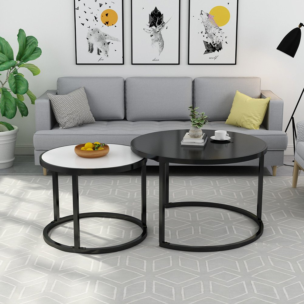 Nesting Coffee Table Set, LITTLE TREE 48'' Large Modern End Side Table with Sturdy Round Metal Base for Living Room, White and Black
