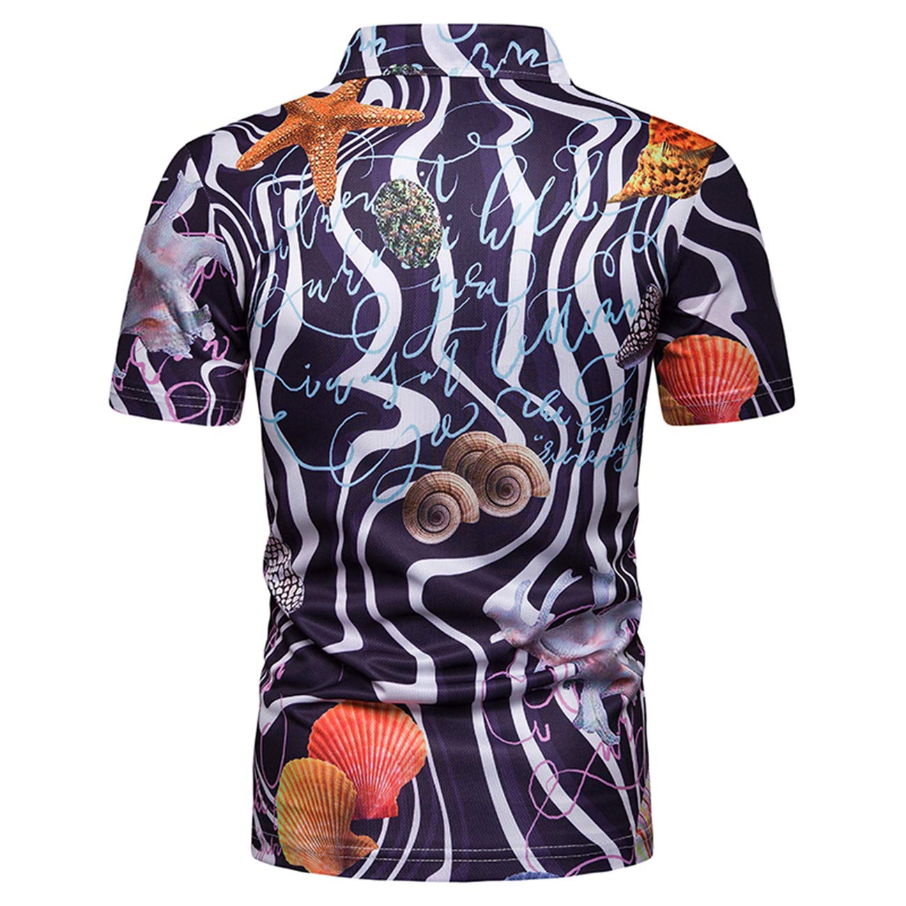 Mens Floral Printed Contrast Color Short Sleeve Leisure and Fashion Polo Shirt