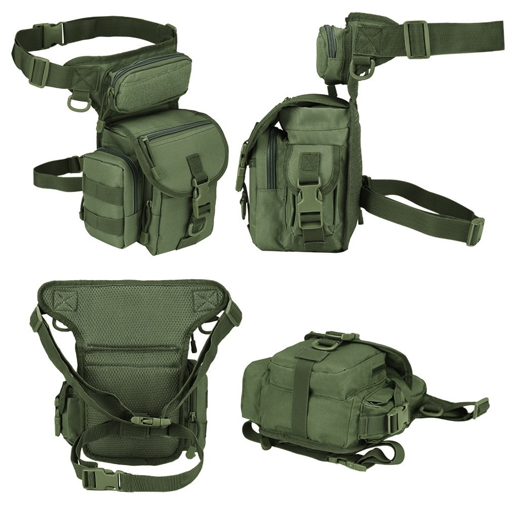 Airsoft moto Sac de jambe militaire tactique vert militaire Thermite Versipack id/éal pour Paintball