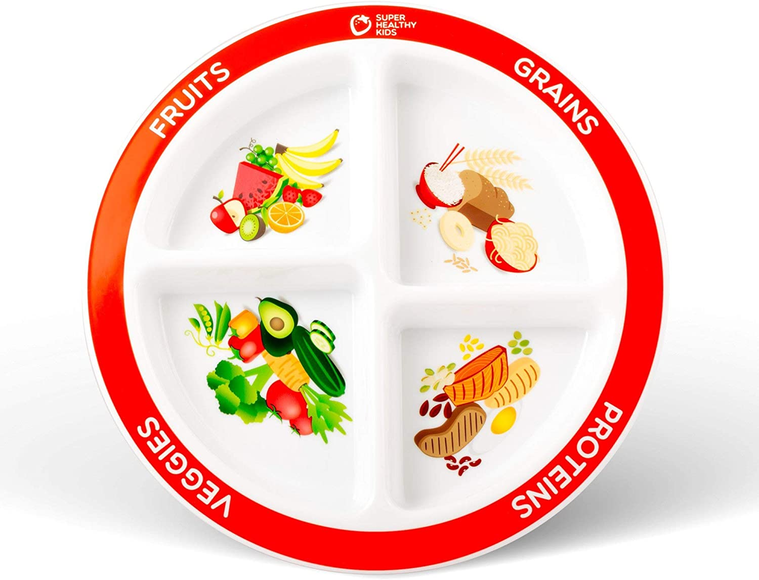Health Beet Portion Plate Choose MyPlate for Kids, Toddlers - Kids Plates with Dividers and Nutrition Portions - English Language (Single Plate)