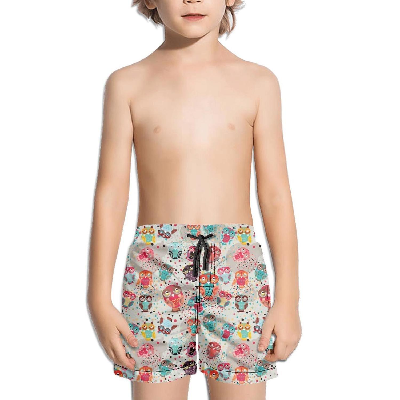 truye rrelk Funny Pink Teacher Owls Art Printed Little boy Swimsuit Trunks Short