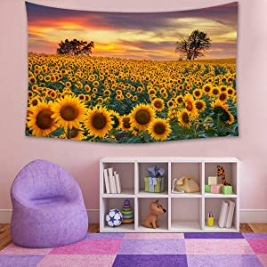 Tapestry Wall Hanging 3D Floral Sunflower Tapestries Vintage Summer Scenery Scenic Landscape Flowers Blanket for Dorm Door Bedroom Living Room Window Decortive Home Decor Yellow 59X79inch(150X200cm)