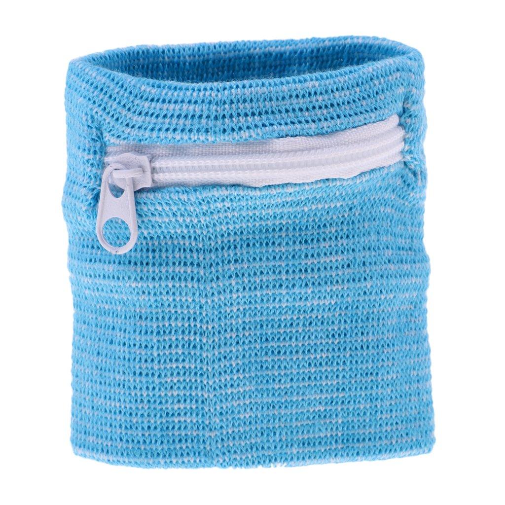 Homyl Absorbent Cotton Outdoor Sports Fitness Running Cycling Wrist Band Wristband Sweatband Wallet Zipper Pocket Purse Choose Color
