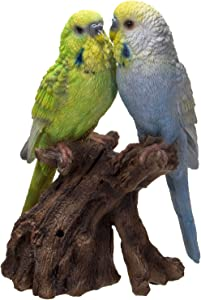 Pacific Giftware Parakeets Perching on Branch with Motion Activated Bird Sound Collectible Figurine