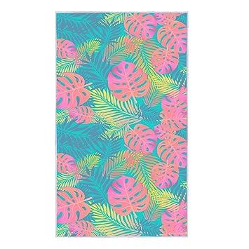 Floral Beach Towel for Travel Bath Pool Swimming Yoga Gym Sport - 61 x 30 Quick Fast Dry Blanket, Leaf Print