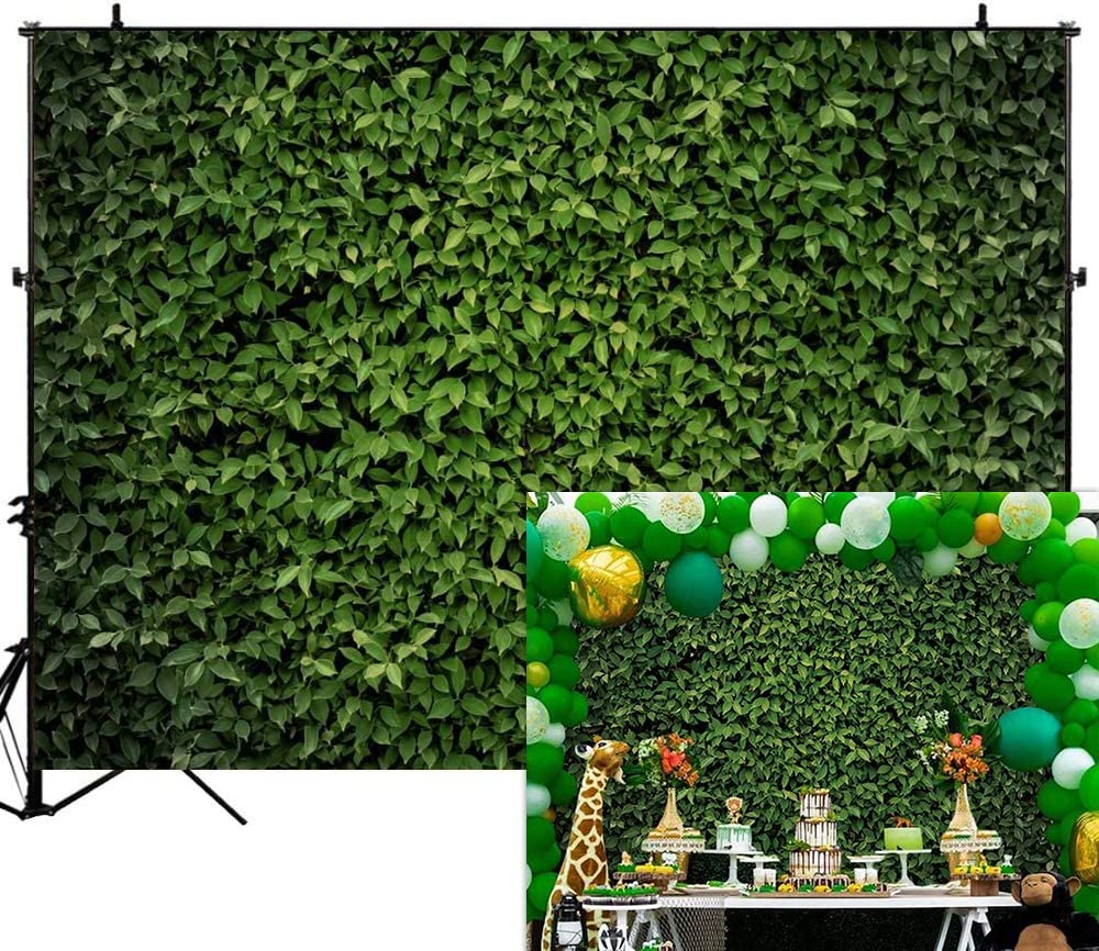 Allenjoy 7x5ft Fabric Green Leaves Photography Backdrops Spring Nature Safari Theme Party Banner Grass Floor Newborn Baby Shower Wedding Photo Background Cake Table Decoration Props
