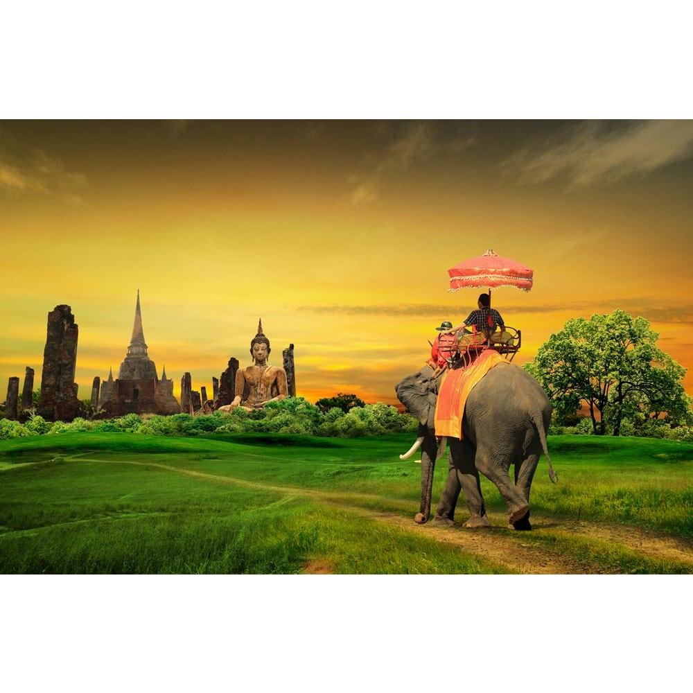 Pitaara Box Sunset Thai Countryside Thailand Unframed Canvas Painting 35 x 23inch
