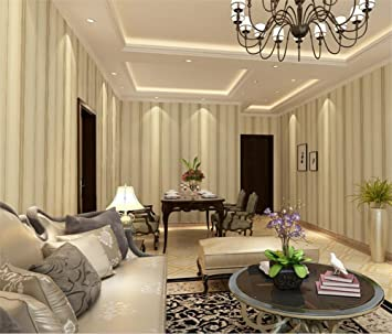 HQW Non Woven Modern Simple Vertical Striped Green Wallpaper Living Room Restaurant TV Wall Bedroom
