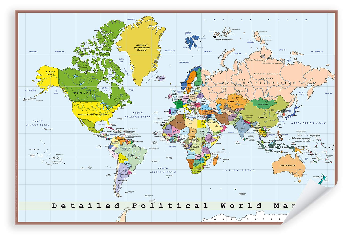 High Quality World Map Poster - 09 - Detailed Political ...