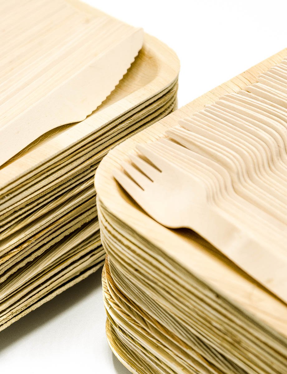 Party Pack of 150 Eco-Friendly Dinnerware - 50 Disposable 8'' Square Palm Leaf Plates, 50 Wood Forks, 50 Wood Knives by Ecodesign Disposables (Image #2)