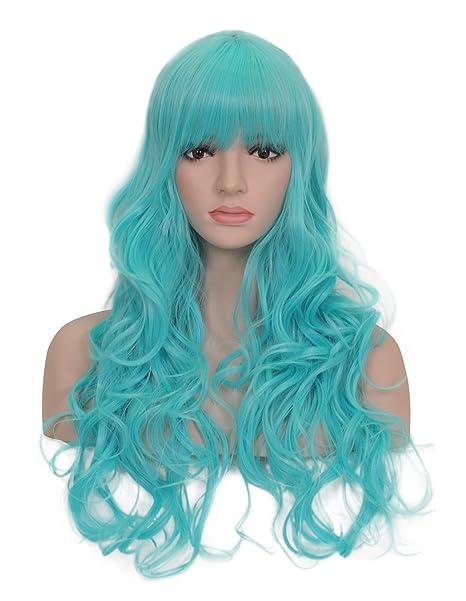 "Nueva serie del arco iris 25 ""cosplay pelucas onduladas cabeza completa azul claro peluca"