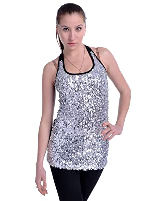 Anna-Kaci S/M Fit Silver and Black Iridescent All Over Confetti Sequins Top