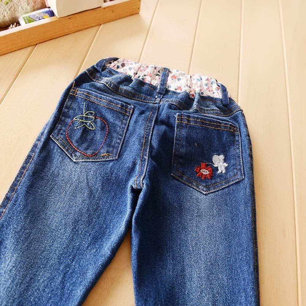 Automne Hiver B/éb/é Filles Pulls Jeans 2 Pcs Tenues Beige Manches Longues Pullover Top+Long Denim Pantalon Chaud V/êtements