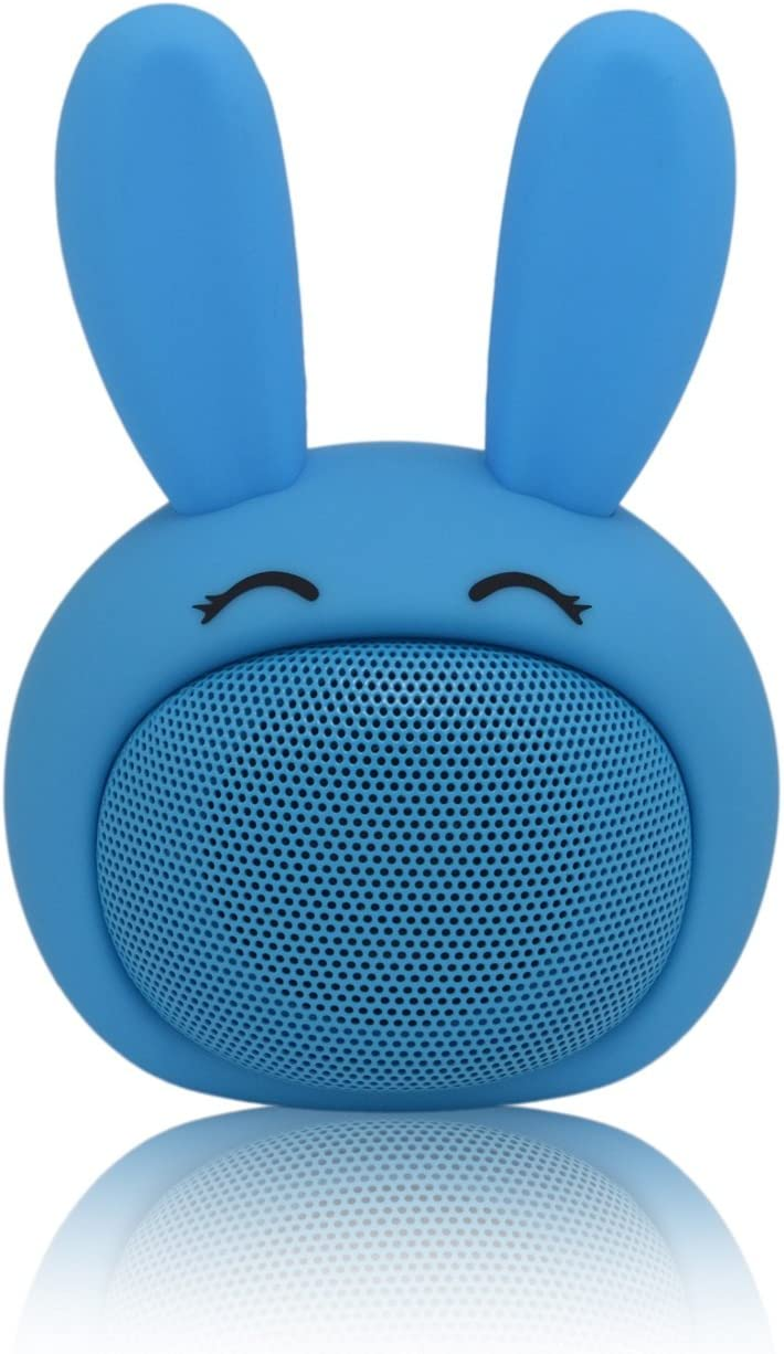Mini Bluetooth Speaker Wireless Portable Cute Bunny with Squishy Ears (Denim Blue)
