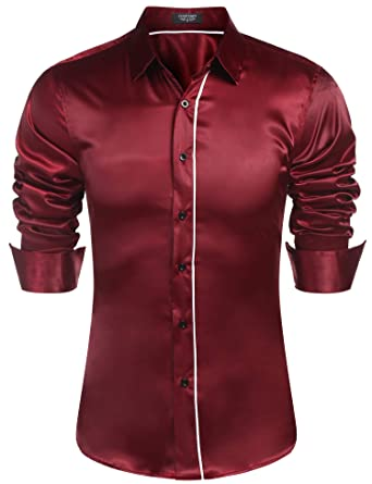 df9d401f5080e Coofandy Mens Casual Long Sleeve Dress Shirt Shiny Solid Satin Luxury Button  Shirts