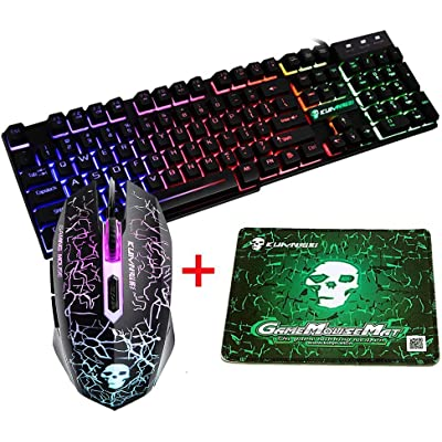 UrChoiceLtd T6 Rainbow retroiluminado USB Gaming Teclado + Rainbow Multimedia óptico de 2400dpi 6 Botones LED USB ratón para juegos + el Lich King Gaming Mouse Pad 220 * 180 * 5 mm Tamaño estándar