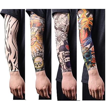 u-hoMEyy 1 or 13 Pcs Nylon Seamless Tatoo Sleeves Fake Temporary Tattoo  Sleeve Arm Stockings Tatoo for Men Women