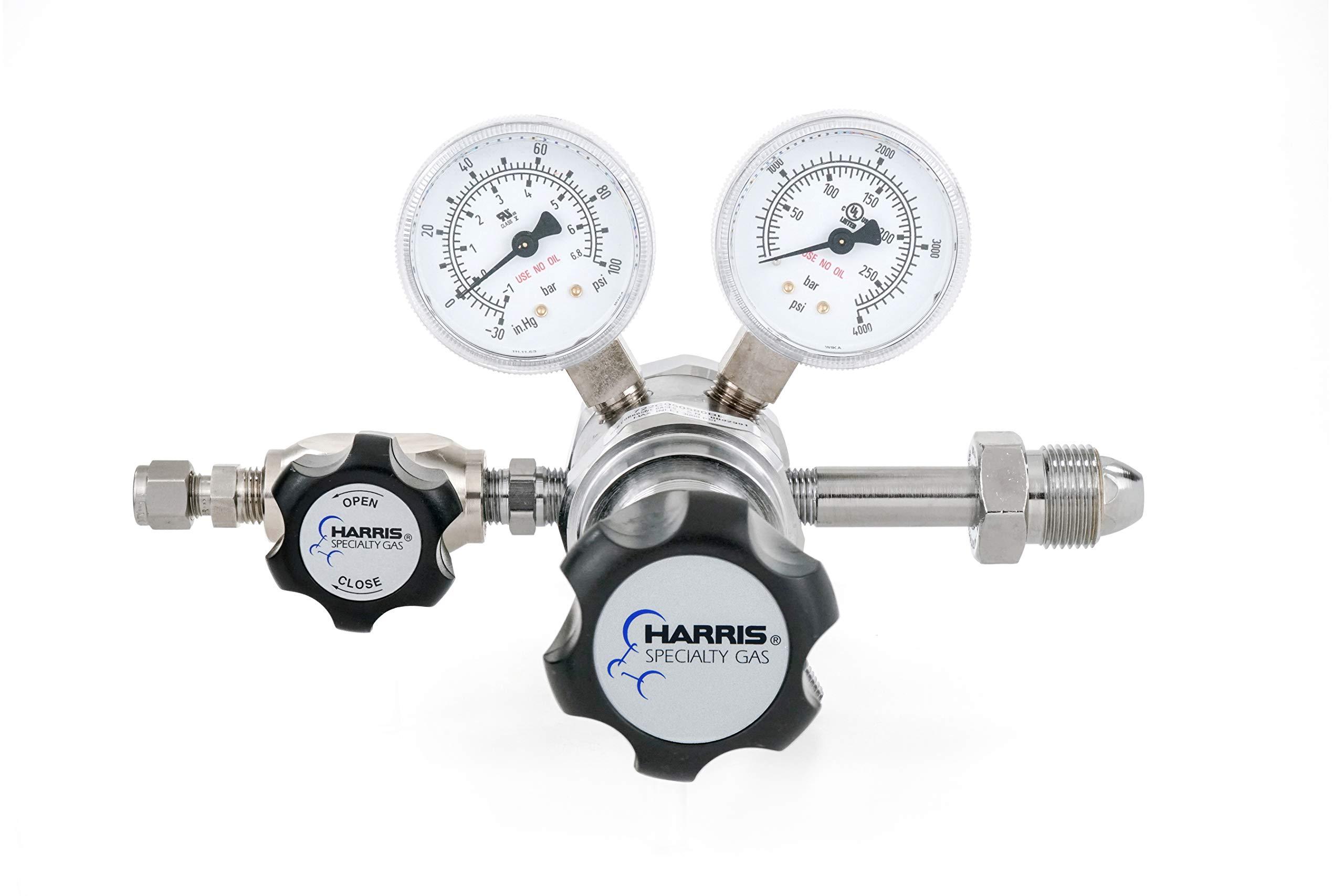 Nitrogen, Helium, Argon specialty gas lab regulator, CGA 580, 2-stage, chrome-plated, 0-50 PSI