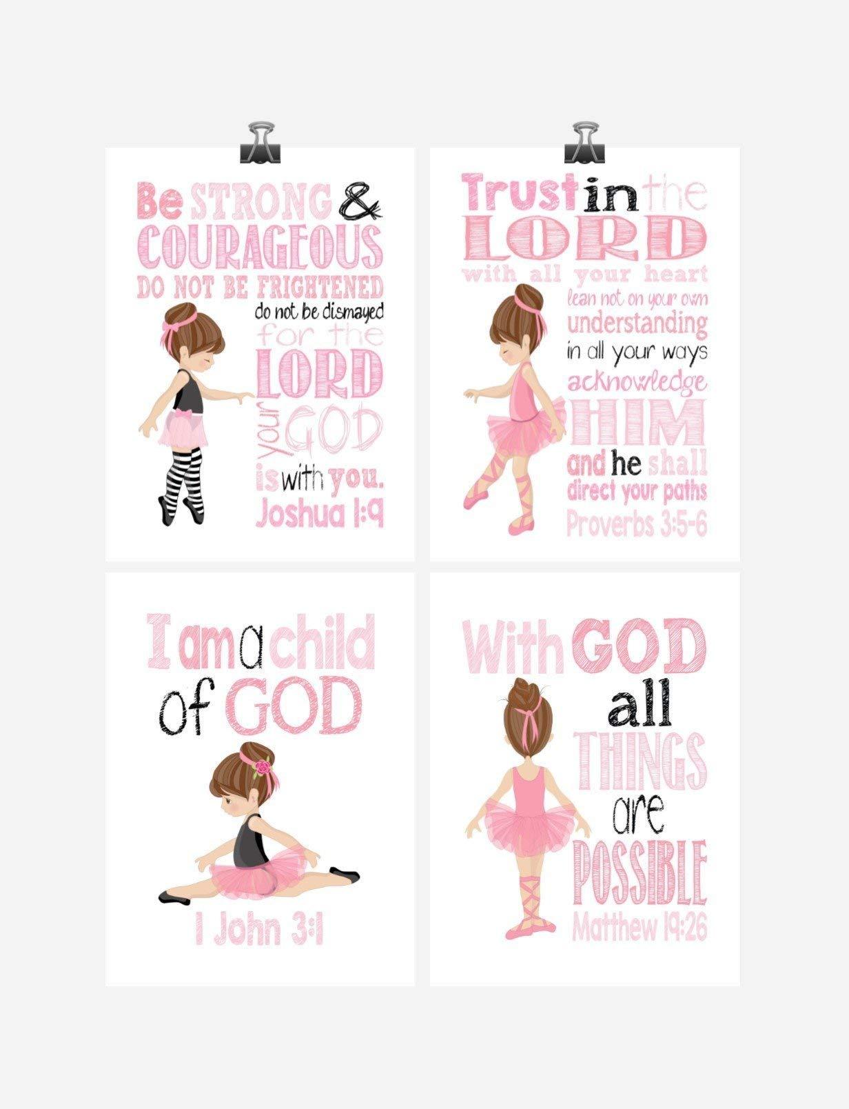 Ballerina Christian Nursery Decor Wall Art Set of 4 Prints - Bible Verse - Multiple Sizes by Pixie Paper