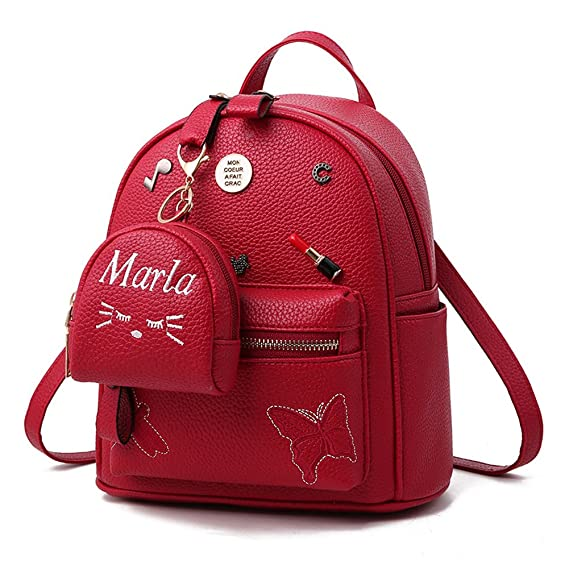 Amazon.com | Flada Girls Backpack PU Leather School Bags daypack Cute Bookbag Purse with Small Cat Wallet Wine Red | Kids Backpacks